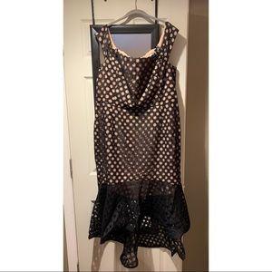 Black and tan polka dot city chic dress